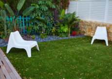 tropical garden with artificial grass turf and wooden deck in backyard