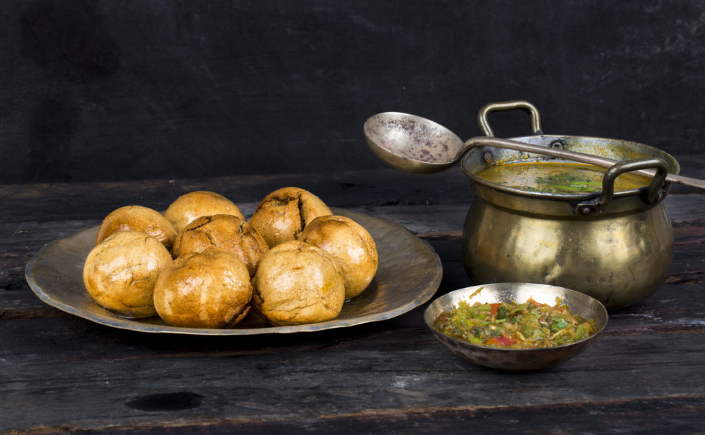 Indian Cuisine Dal Baati, It is Popular in Rajasthan, Uttar Pradesh and Madhya Pradesh