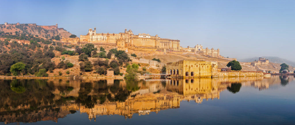 Famous Rajasthan landmark - Panorama of Amer (Amber) fort, Rajasthan, India