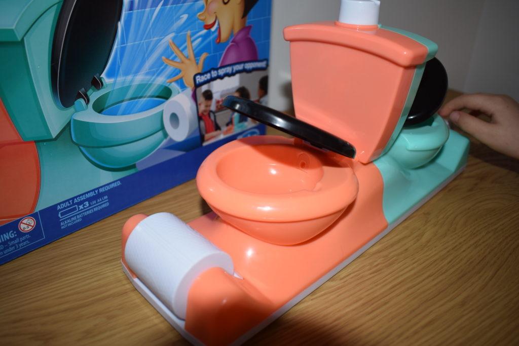 Toilet Trouble Flushdown game review - Hasbro Toy Tribe family games