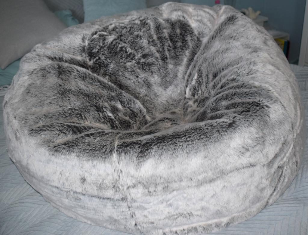 Pleasing Xl Icon Faux Fur Bean Bag In Grey From Bean Bag Bazaar Squirreltailoven Fun Painted Chair Ideas Images Squirreltailovenorg